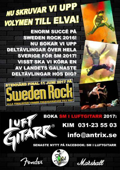 SM I Luftgitarr. Luftgitarrtävling till festivaler, nattklubbar och andra event